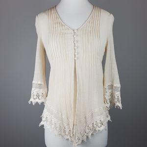 Keren Hart Ivory Crochet Detail Top